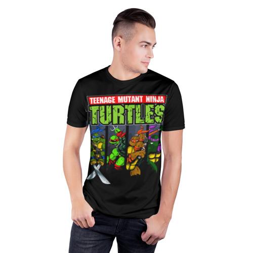 Мужская футболка 3D спортивная с принтом Черепашки-ниндзя, фото на моделе #1