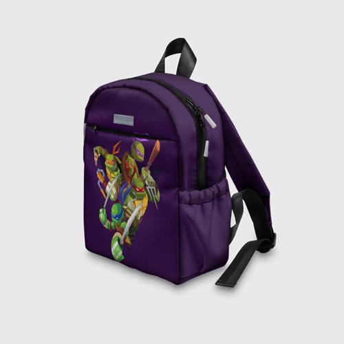 Детский рюкзак 3D с принтом ЧЕРЕПАШКИ НИНДЗЯ, вид сбоку #3