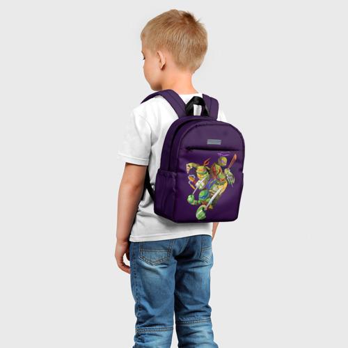 Детский рюкзак 3D с принтом ЧЕРЕПАШКИ НИНДЗЯ, фото на моделе #1