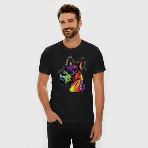 Мужская футболка премиум с принтом Берегись шнауцеров!, фото на моделе #1