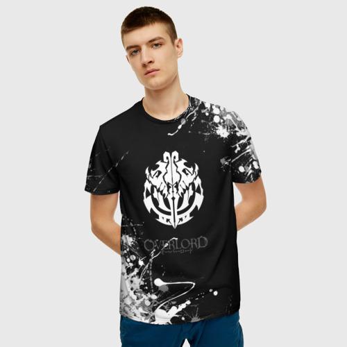Мужская 3D футболка с принтом Белые каракули оверлорд, фото на моделе #1