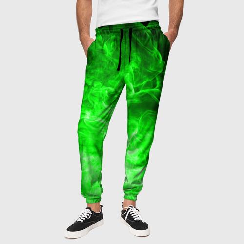 Мужские брюки 3D с принтом ОГОНЬ GREEN NEON, вид сбоку #3