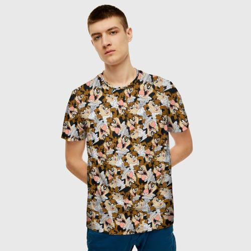 Мужская 3D футболка с принтом Looney Tunes, фото на моделе #1