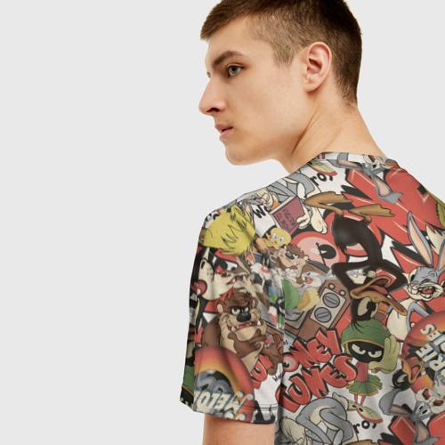 Мужская 3D футболка с принтом Looney Tunes, вид сзади #2