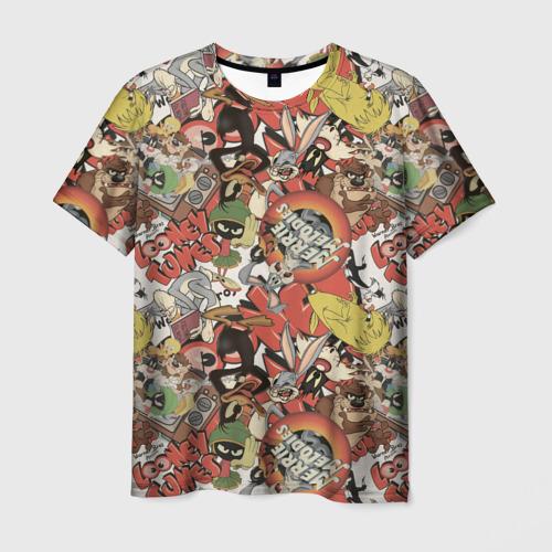 Мужская 3D футболка с принтом Looney Tunes, вид спереди #2