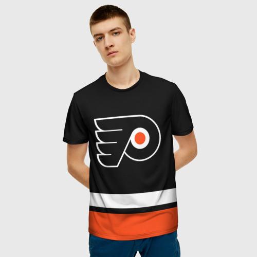 Мужская 3D футболка с принтом Филадельфия Флайерз, фото на моделе #1