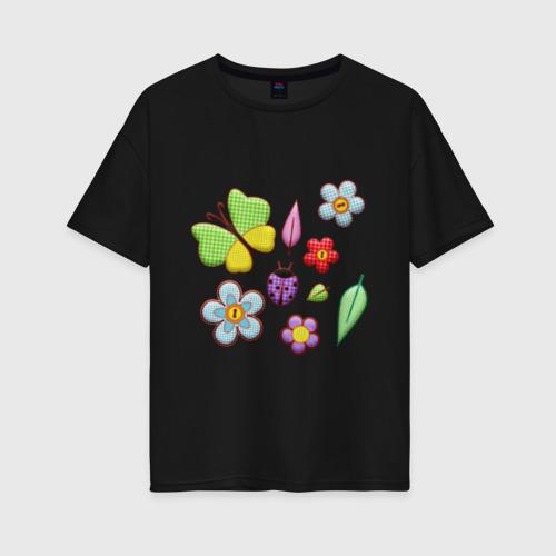 Женская футболка oversize Вышивка