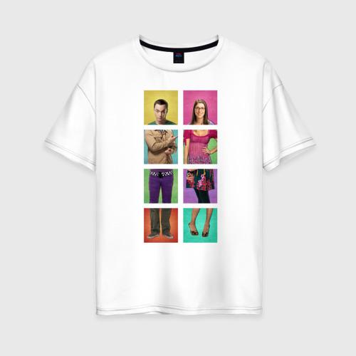 Женская футболка oversize Big Bang Theory collage