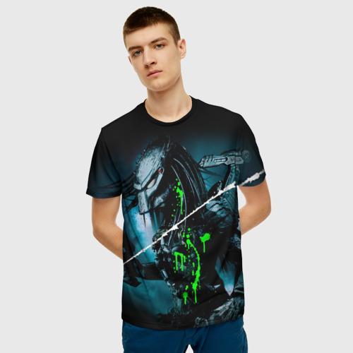 Мужская 3D футболка с принтом PREDATOR, фото на моделе #1