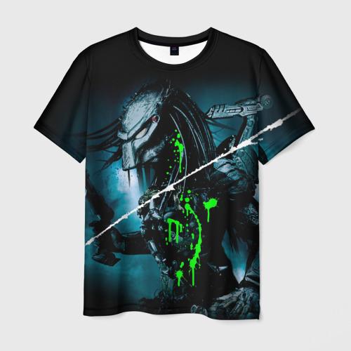 Мужская 3D футболка с принтом PREDATOR, вид спереди #2