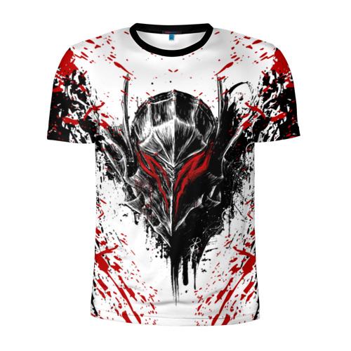 Мужская футболка 3D спортивная с принтом БЕРСЕРК ЧЁРНАЯ МАСКА / BERSERK BLACK MASK, вид спереди #2