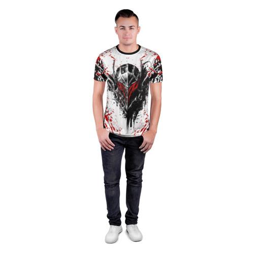 Мужская футболка 3D спортивная с принтом БЕРСЕРК ЧЁРНАЯ МАСКА / BERSERK BLACK MASK, вид сбоку #3
