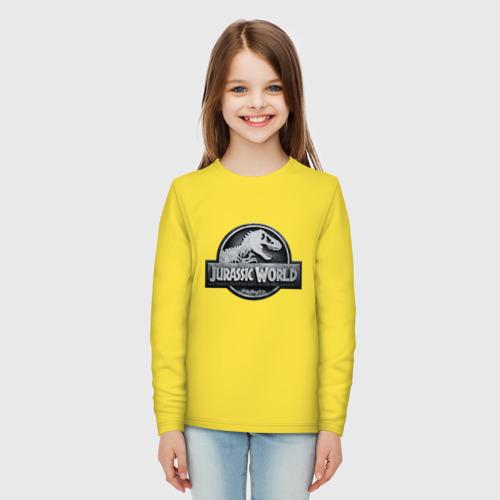 Детский хлопковый лонгслив с принтом Jurassic World | Мир юрского периода (Z), вид сбоку #3