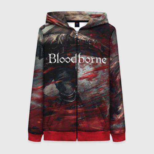 Женская толстовка на молнии с принтом Bloodborne, вид спереди #2