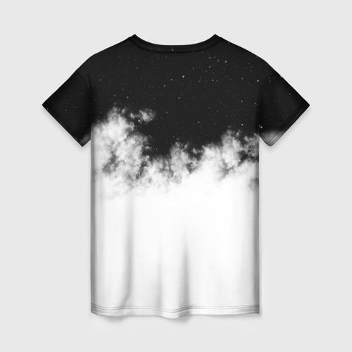 Женская 3D футболка с принтом Galaxy wolf, вид сзади #1