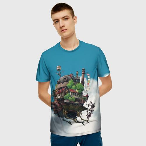 Мужская 3D футболка с принтом Ходячий замок в облаках, фото на моделе #1