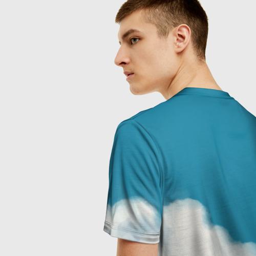 Мужская 3D футболка с принтом Ходячий замок в облаках, вид сзади #2