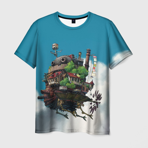 Мужская 3D футболка с принтом Ходячий замок в облаках, вид спереди #2