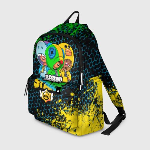Рюкзак 3D с принтом Brawl Stars Leon Trio, вид спереди #2