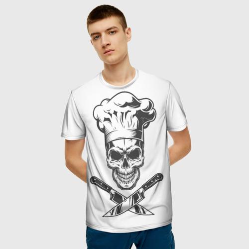 Мужская 3D футболка с принтом Череп повар, фото на моделе #1