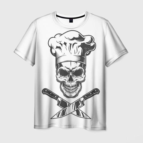 Мужская 3D футболка с принтом Череп повар, вид спереди #2