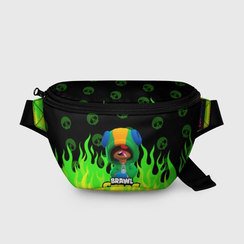 Поясная сумка 3D с принтом Brawl Stars LEON, вид спереди #2