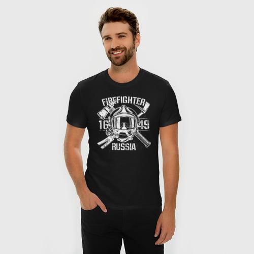 Мужская футболка премиум с принтом FIREFIGHTER RUSSIA, фото на моделе #1