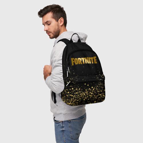 Рюкзак 3D с принтом FORTNITE GOLDEN   ФОРТНАЙТ ЗОЛОТО, фото на моделе #1