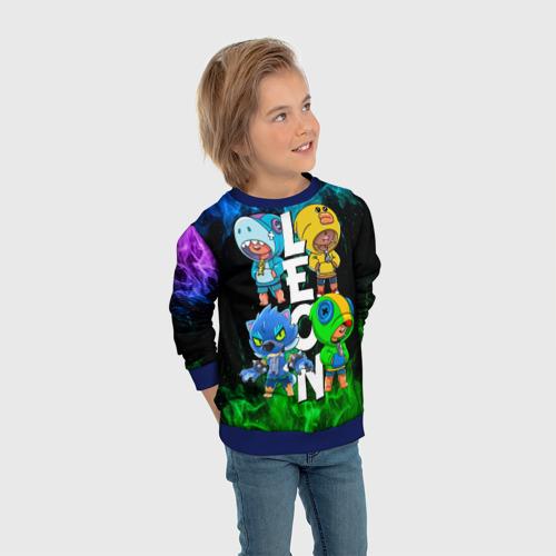 Детский 3D свитшот с принтом Brawl Stars Leon Quattro, вид сбоку #3