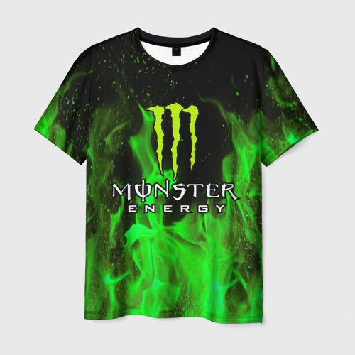Мужская 3D футболка с принтом MONSTER ENERGY, вид спереди #2
