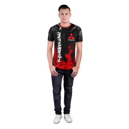 Мужская футболка 3D спортивная с принтом MITSUBISHI SPORT, вид сбоку #3