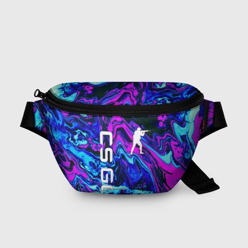Поясная сумка 3D с принтом CS GO NEON   КС ГО НЕОН, вид спереди #2