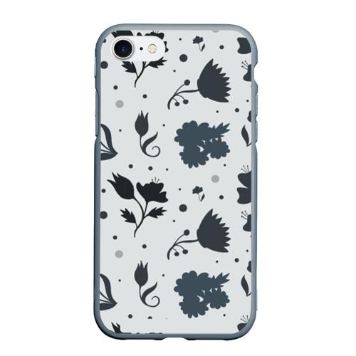 Чехол для iPhone 7/8 матовый Чёрно-белые цветы
