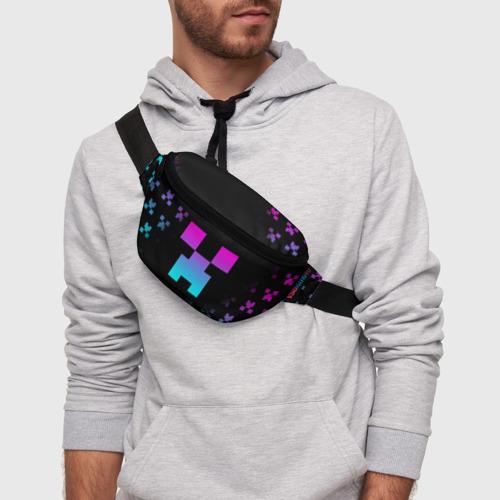 Поясная сумка 3D с принтом MINECRAFT CREEPER, фото на моделе #1