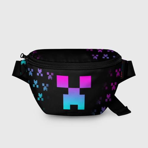 Поясная сумка 3D с принтом MINECRAFT CREEPER, вид спереди #2