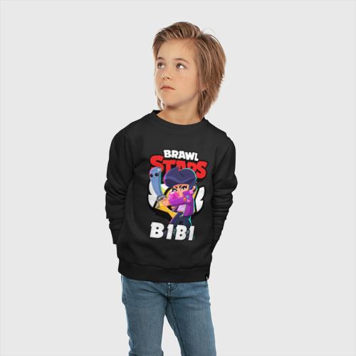 Детский свитшот хлопок с принтом BRAWL STARS BIBI   БРАВЛ СТАРС БИБИ, вид сбоку #3