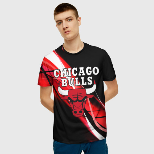 Мужская 3D футболка с принтом CHICAGO BULLS   ЧИКАГО БУЛЛС, фото на моделе #1