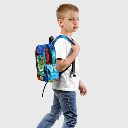 Детский рюкзак 3D с принтом BRAWL STARS LEON TRIO   БРАВЛ СТАРС ЛЕОН ТРИО, вид сзади #1
