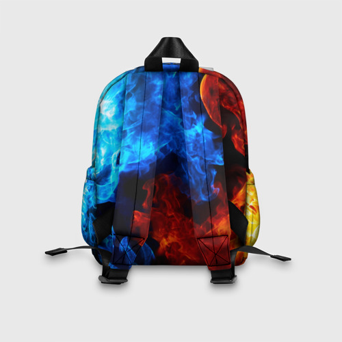 Детский рюкзак 3D с принтом BRAWL STARS LEON TRIO   БРАВЛ СТАРС ЛЕОН ТРИО, вид сзади #2