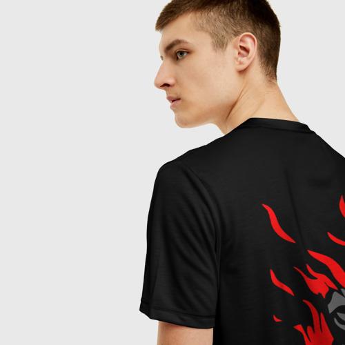 Мужская 3D футболка с принтом CYBERPUNK 2077 SAMURAI | САМУРАЙ, вид сзади #2