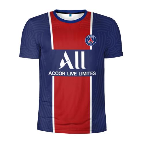 Мужская футболка 3D спортивная с принтом PSG home 20-21, вид спереди #2