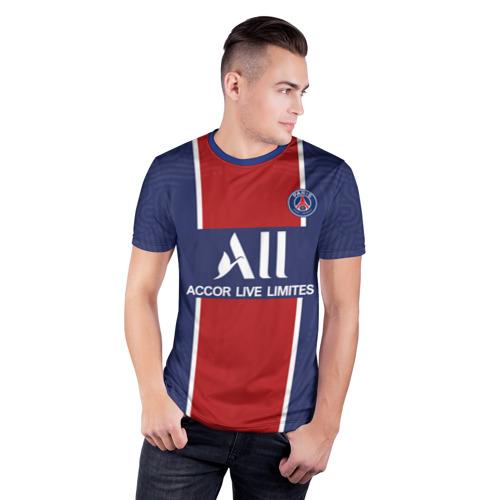 Мужская футболка 3D спортивная с принтом PSG home 20-21, фото на моделе #1