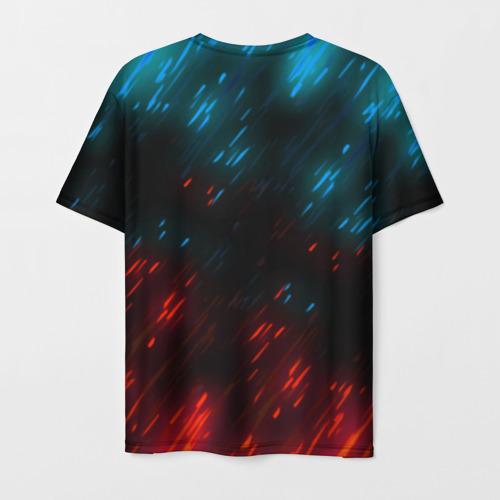 Мужская 3D футболка с принтом CYBERPUNK 2077 SAMURAI, вид сзади #1