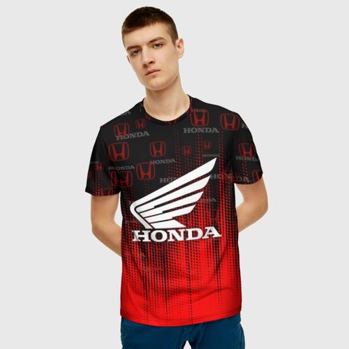 Мужская 3D футболка с принтом HONDA, фото на моделе #1
