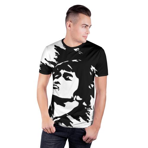 Мужская футболка 3D спортивная с принтом Виктор Цой, фото на моделе #1