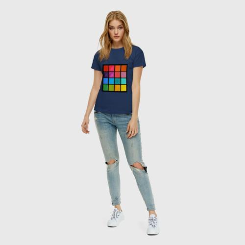 Женская футболка с принтом Палетка теней, вид сбоку #3