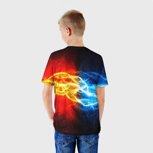 Детская 3D футболка с принтом БИТВА МОЛНИЙ, вид сзади #2