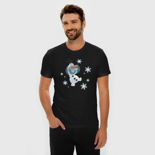 Мужская футболка премиум с принтом Олаф Холодное сердце, фото на моделе #1