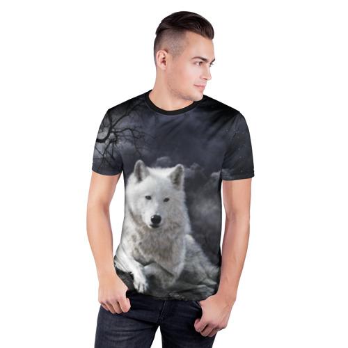 Мужская футболка 3D спортивная с принтом БЕЛЫЙ ВОЛК(D), фото на моделе #1