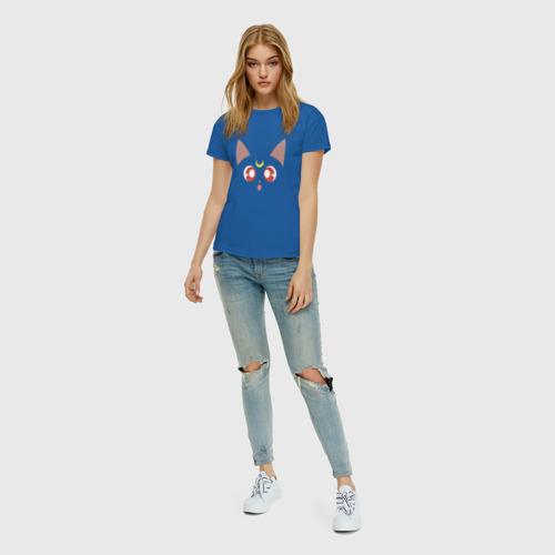 Женская футболка с принтом Sailor Moon Luna, вид сбоку #3